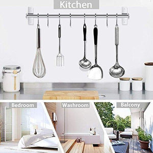 Tevizz Kitchen Utensil Rack,Wall Mounted Hanger,Space Saver Stainless Steel  Rack Rail Storage Organizer Kitchen Tools for Hanging Knives, Spoon,Pot ...