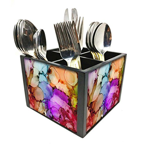 "Nutcase Designer Cutlery Stand Holder Silverware Caddy-Spoons Forks Knives Organizer for Dining Table & kitchen -W-5.75""x H -4.25""x L-5.5""-SPOONS NOT INCLUDED - Alcohol Ink"