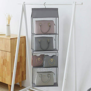 Discover the best aoolife hanging purse handbag organizer clear hanging shelf bag collection storage holder dust proof closet wardrobe hatstand space saver 4 shelf grey