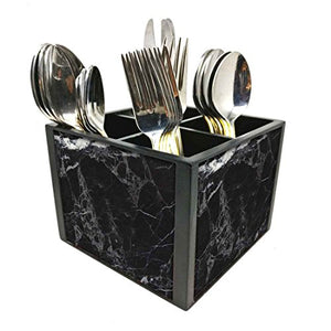 "Nutcase Designer Cutlery Stand Holder Flatware Caddy-Spoons Forks Knives Organizer for Dining Table & kitchen W-5.75""x H -4.25""x L-5.5"" - Black Marble"