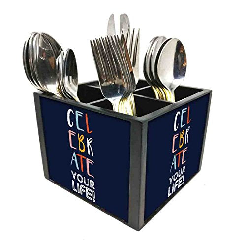 "Nutcase Designer Cutlery Stand Holder Silverware Caddy-Spoons Forks Knives Organizer for Dining Table & kitchen W-5.75""x H -4.25""x L-5.5"" - Celebrate Your Life"