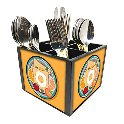 "Nutcase Designer Cutlery Stand Holder Silverware Caddy-Spoons Forks Knives Organizer for Dining Table & kitchen W-5.75""x H -4.25""x L-5.5"" - BreakFast Time Yellow"
