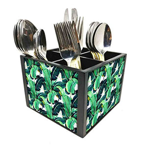 "Nutcase Designer Cutlery Stand Holder Silverware Caddy-Spoons Forks Knives Organizer for Dining Table & kitchen W-5.75""x H -4.25""x L-5.5"" - Banana Leaves"