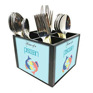 "Nutcase Designer Cutlery Stand Holder Silverware Caddy-Spoons Forks Knives Organizer for Dining Table & kitchen W-5.75""x H -4.25""x L-5.5"" - Piscean"