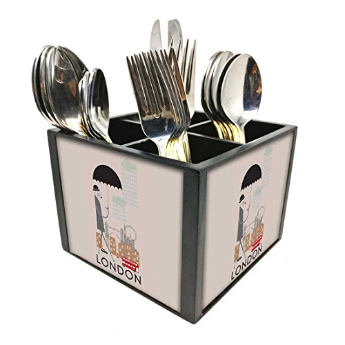 "Nutcase Designer Cutlery Stand Holder Silverware Caddy-Spoons Forks Knives Organizer for Dining Table & kitchen -W-5.75""x H -4.25""x L-5.5""-SPOONS NOT INCLUDED - London"