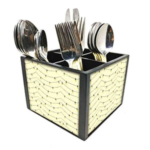 "Nutcase Designer Cutlery Stand Holder Silverware Caddy-Spoons Forks Knives Organizer for Dining Table & kitchen W-5.75""x H -4.25""x L-5.5"" - Lightning White"