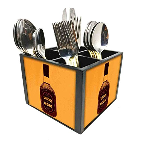 "Nutcase Designer Cutlery Stand Holder Silverware Caddy-Spoons Forks Knives Organizer for Dining Table & kitchen W-5.75""x H -4.25""x L-5.5"" - Drunk Monk"