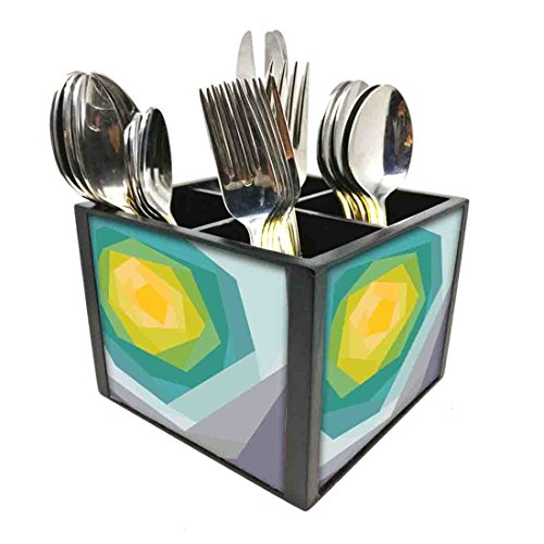 "Nutcase Designer Cutlery Stand Holder Silverware Caddy-Spoons Forks Knives Organizer for Dining Table & kitchen W-5.75""x H -4.25""x L-5.5"" - Abstract Flower"