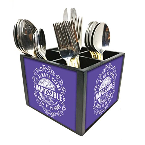 "Nutcase Designer Cutlery Stand Holder Silverware Caddy-Spoons Forks Knives Organizer for Dining Table & kitchen W-5.75""x H -4.25""x L-5.5"" - Impossible"