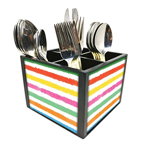 "Nutcase Designer Cutlery Stand Holder Silverware Caddy-Spoons Forks Knives Organizer for Dining Table & kitchen -W-5.75""x H -4.25""x L-5.5""-SPOONS NOT INCLUDED - Colorful Lines"