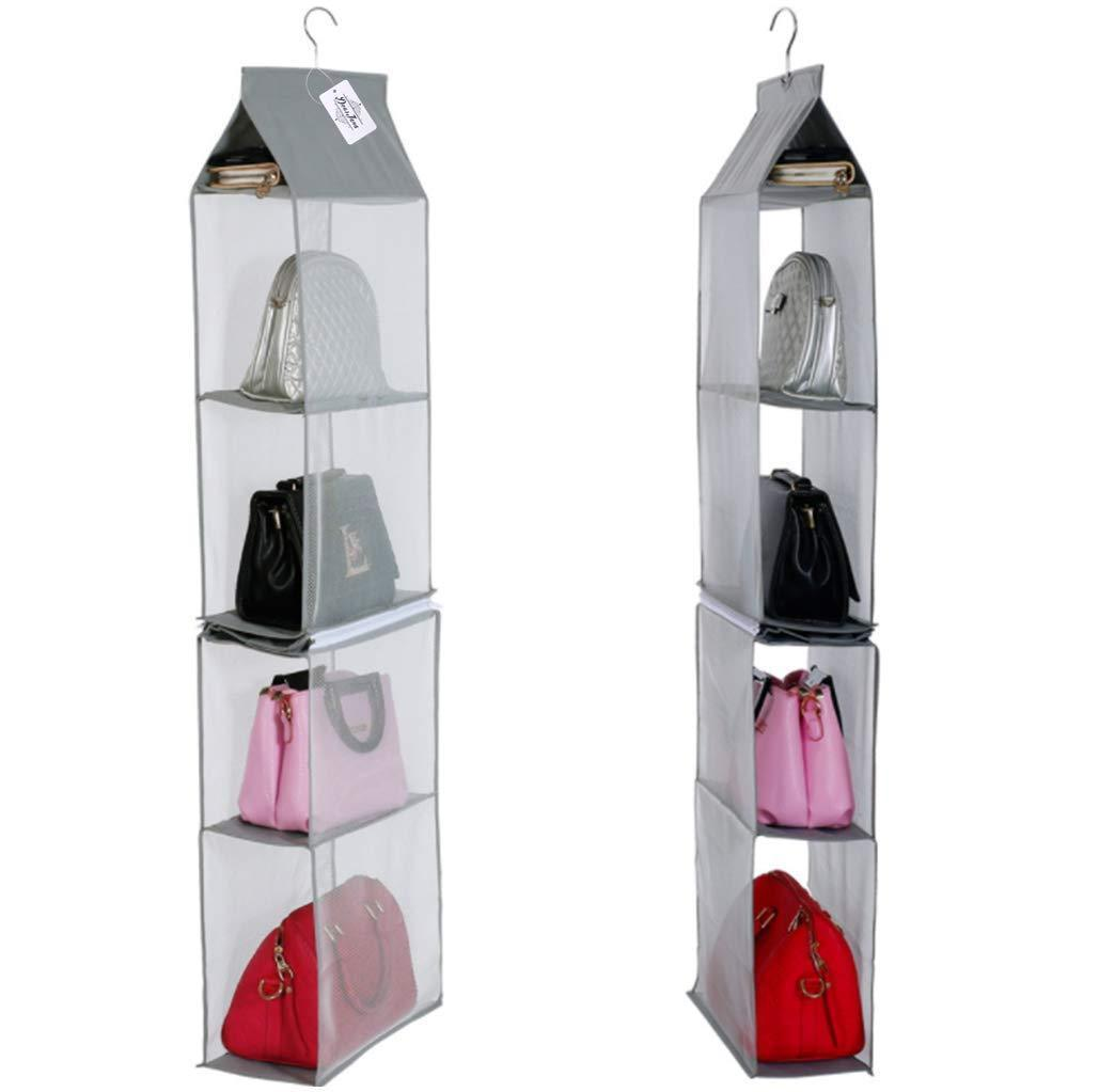 Budget friendly detachable 4 big compartment pouch hanging handbag organizer clear purse bag storage holder wardrobe closet space saving organizers system for living room bedroom usepack of 2 grey