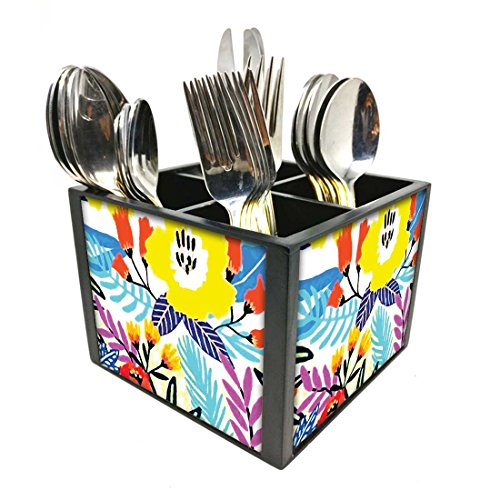 "Nutcase Designer Cutlery Stand Holder Silverware Caddy-Spoons Forks Knives Organizer for Dining Table & kitchen W-5.75""x H -4.25""x L-5.5"" - Floral"