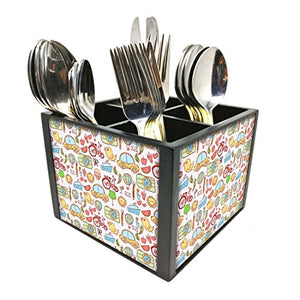 "Nutcase Designer Cutlery Stand Holder Silverware Caddy-Spoons Forks Knives Organizer for Dining Table & kitchen -W-5.75""x H -4.25""x L-5.5""-SPOONS NOT INCLUDED - Cute Elephants"