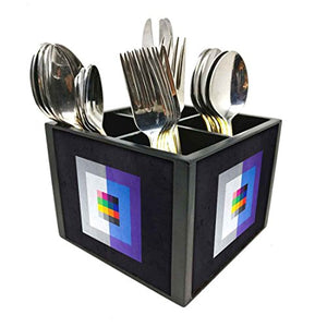 "Nutcase Designer Cutlery Stand Holder Silverware Caddy-Spoons Forks Knives Organizer for Dining Table & kitchen W-5.75""x H -4.25""x L-5.5"" - Squares"