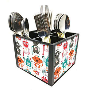 "Nutcase Designer Cutlery Stand Holder Silverware Caddy-Spoons Forks Knives Organizer for Dining Table & kitchen -W-5.75""x H -4.25""x L-5.5""-SPOONS NOT INCLUDED - Robotic art"