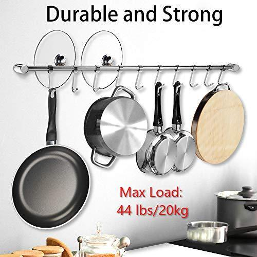 Great nidouillet kitchen rail wall mounted utensil racks with 10 stainless steel sliding hooks for kitchen tool pot lid pan towel ab005