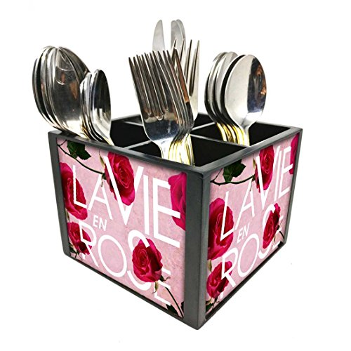 "Nutcase Designer Cutlery Stand Holder Silverware Caddy-Spoons Forks Knives Organizer for Dining Table & kitchen W-5.75""x H -4.25""x L-5.5"" - Love Rose"
