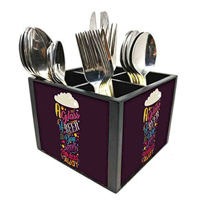 "Nutcase Designer Cutlery Stand Holder Silverware Caddy-Spoons Forks Knives Organizer for Dining Table & kitchen W-5.75""x H -4.25""x L-5.5"" - A Glass Of Beer"