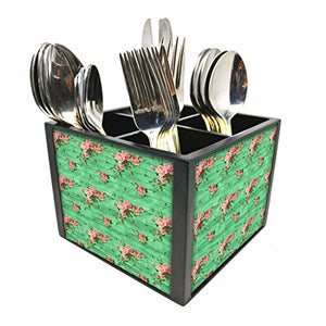 "Nutcase Designer Cutlery Stand Holder Silverware Caddy-Spoons Forks Knives Organizer for Dining Table & kitchen -W-5.75""x H -4.25""x L-5.5""-SPOONS NOT INCLUDED - Vintage Shabby Flowers"