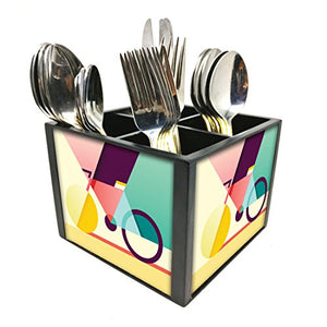 "Nutcase Designer Cutlery Stand Holder Silverware Caddy-Spoons Forks Knives Organizer for Dining Table & kitchen W-5.75""x H -4.25""x L-5.5"" - Cycle Art"