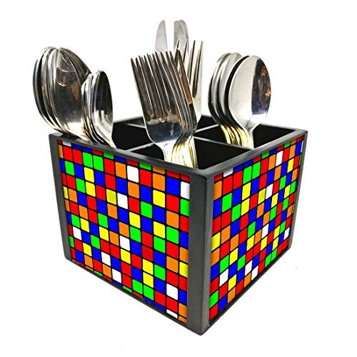 "Nutcase Designer Cutlery Stand Holder Silverware Caddy-Spoons Forks Knives Organizer for Dining Table & kitchen -W-5.75""x H -4.25""x L-5.5""-SPOONS NOT INCLUDED - Colored Box"