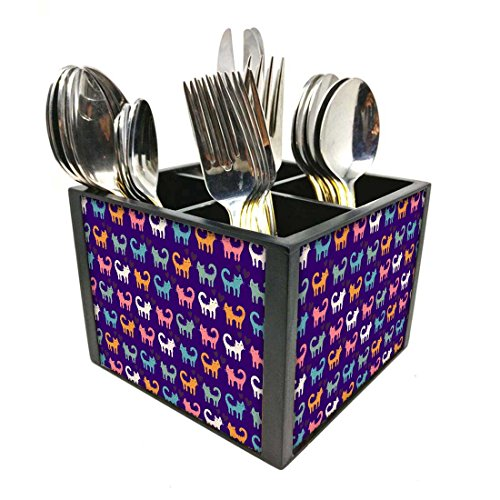 "Nutcase Designer Cutlery Stand Holder Silverware Caddy-Spoons Forks Knives Organizer for Dining Table & kitchen -W-5.75""x H -4.25""x L-5.5""-SPOONS NOT INCLUDED - Cats Everywhere"