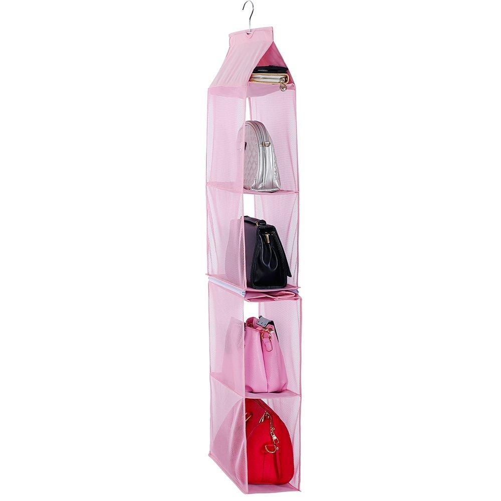 Online shopping detachable 6 compartment organizer pouch hanging handbag organizer clear purse bag collection storage holder wardrobe closet space saving organizers system for living room bedroom home use pink