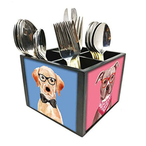 "Nutcase Designer Cutlery Stand Holder Silverware Caddy-Spoons Forks Knives Organizer for Dining Table & kitchen W-5.75""x H -4.25""x L-5.5"" - Hipster Pitbull"