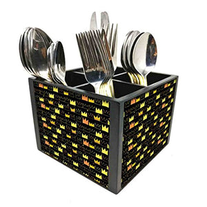 "Nutcase Designer Cutlery Stand Holder Silverware Caddy-Spoons Forks Knives Organizer for Dining Table & kitchen W-5.75""x H -4.25""x L-5.5"" - Crouns"