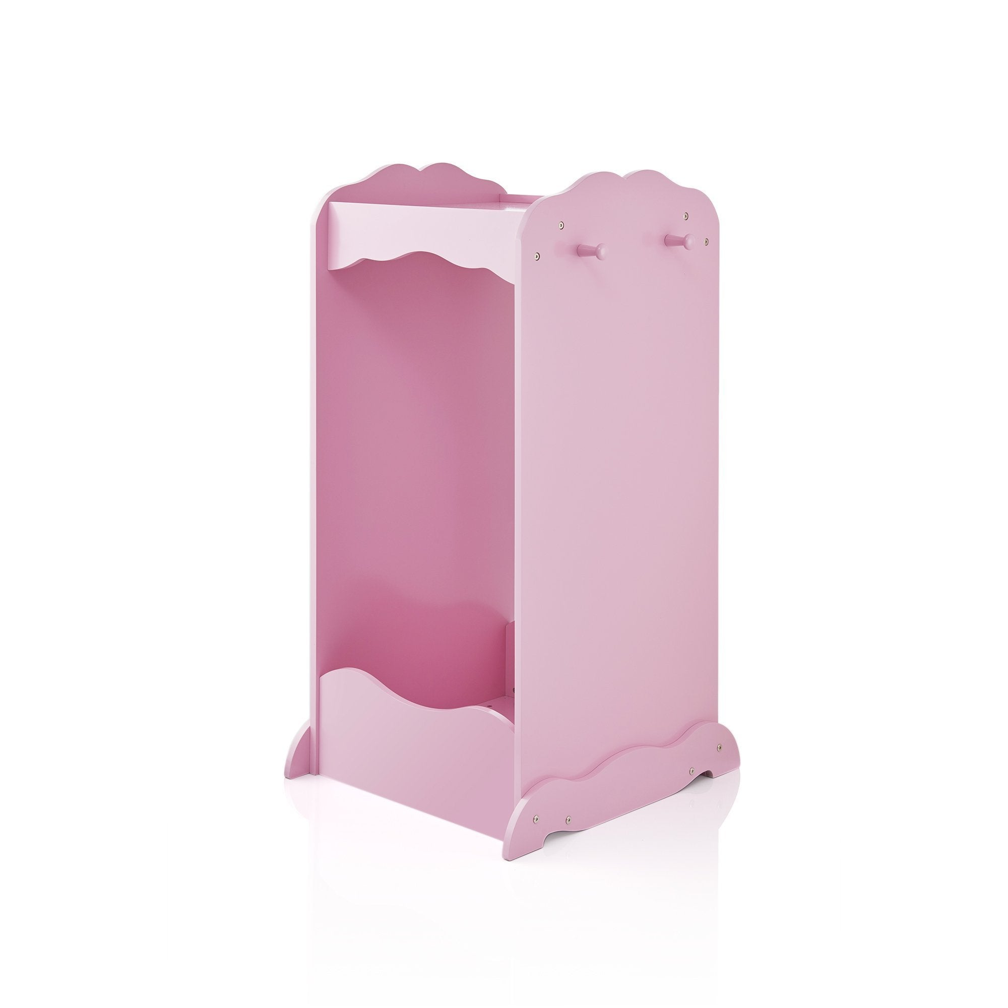 New guidecraft dress up cubby center pink costumes accessoires storage shelf and rack with mirror for little girls and boys toddlers wooden wardrobe closet