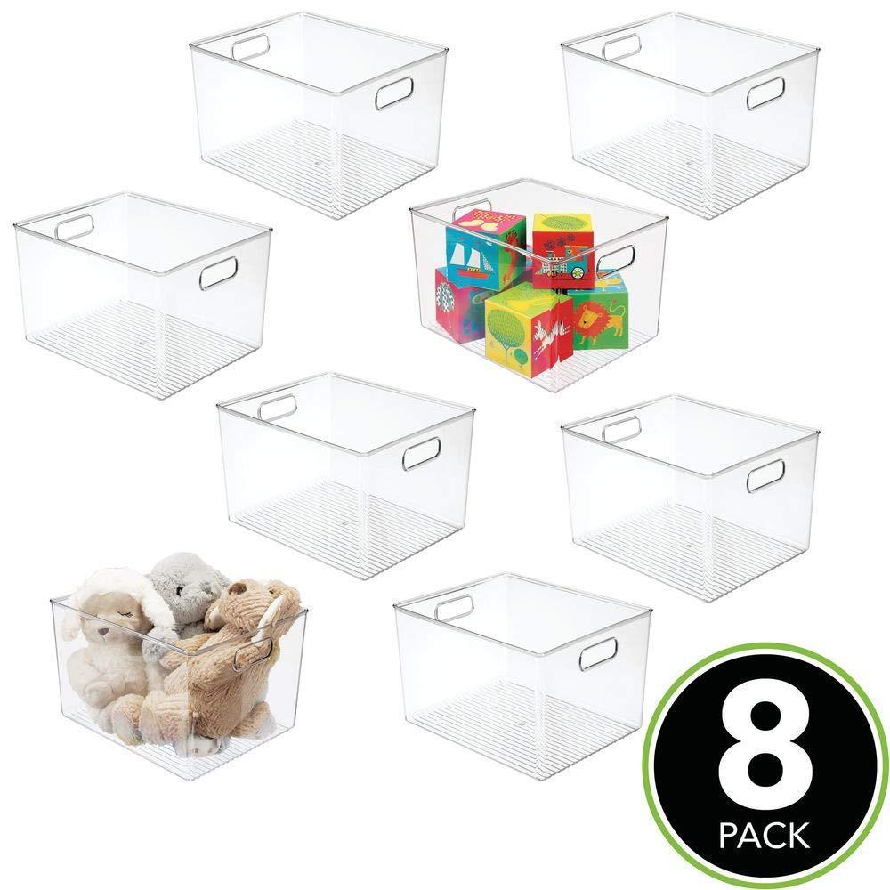 The best mdesign deep plastic home storage organizer bin for cube furniture shelving in office entryway closet cabinet bedroom laundry room nursery kids toy room 12 x 10 x 8 8 pack clear