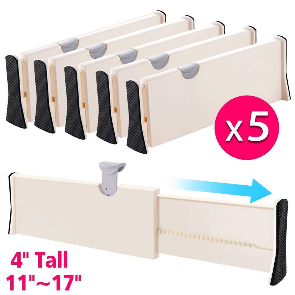Buy now drawer dividers organizer 5 pack adjustable separators 4 high expandable from 11 17 for bedroom bathroom closet clothing office kitchen storage strong secure hold foam ends locks in place