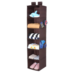 Discover the magicfly hanging closet organizer with 4 side pockets 6 shelf collapsible closet hanging shelf for sweater handbag storage easy mount hanging clothes storage box brown