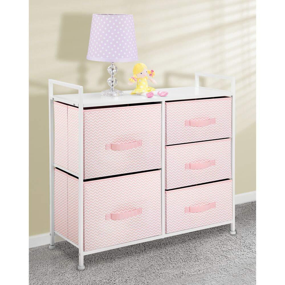 Best mdesign wide dresser storage tower furniture metal frame wood top easy pull fabric bins organizer for kids bedroom hallway entryway closets dorm chevron print 5 drawers pink white