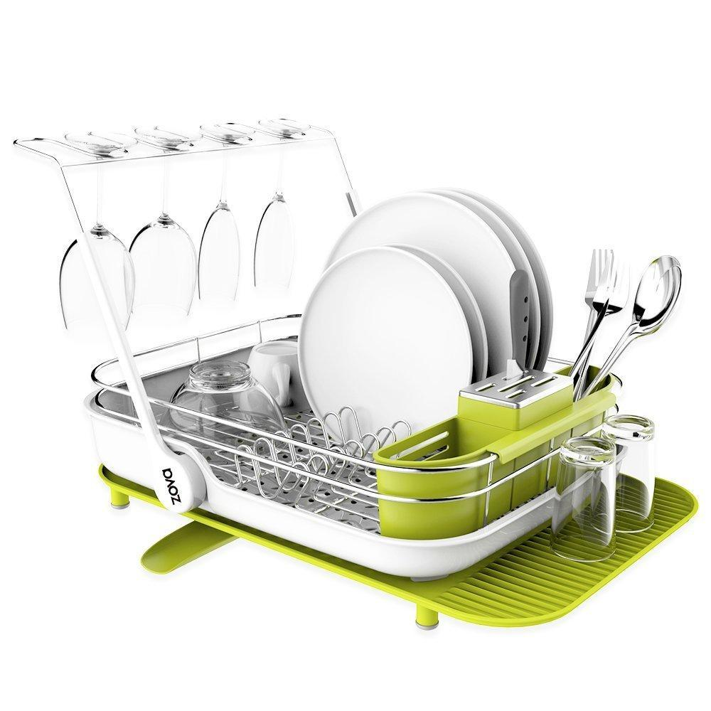 Results mr siga zova premium stainless steel multi functional dish drying rack with cutlery holder and wine glass rack dish drainer utensil organizer for kitchen large white green