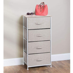 Budget mdesign vertical dresser storage tower sturdy steel frame wood top easy pull fabric bins organizer unit for bedroom hallway entryway closets textured print 4 drawers linen natural