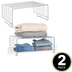 Latest mdesign modern versatile metal closet cabinet organizer storage 2 tier shelf divider and separator for bedrooms bathrooms entryways hallways kitchen pantry office easy install 2 pack chrome