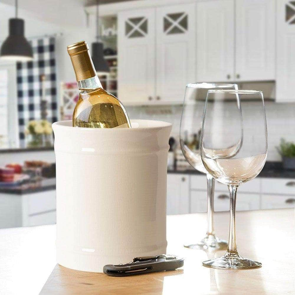 Storage szuah kitchen ceramic utensil holder perfect capacity utensil crock for kitchen counter top dining table cream