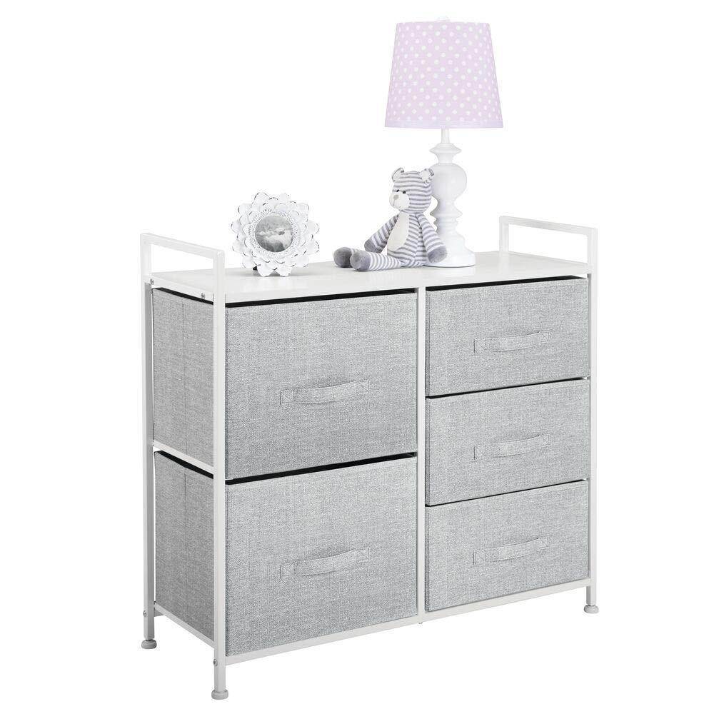 Best seller  mdesign wide dresser storage tower sturdy steel frame wood top easy pull fabric bins organizer unit for bedroom hallway entryway closets textured print 5 drawers gray white