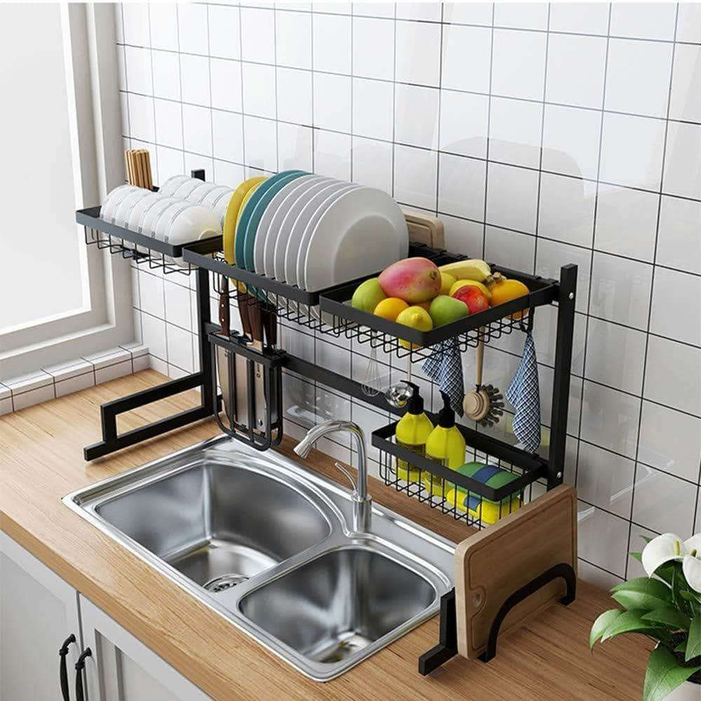 Shop for stainless steel black dish drying rack over kitchen sink dishes and utensils draining shelf kitchen storage countertop organizer utensils holder kitchen space saver for sink 32 5inch
