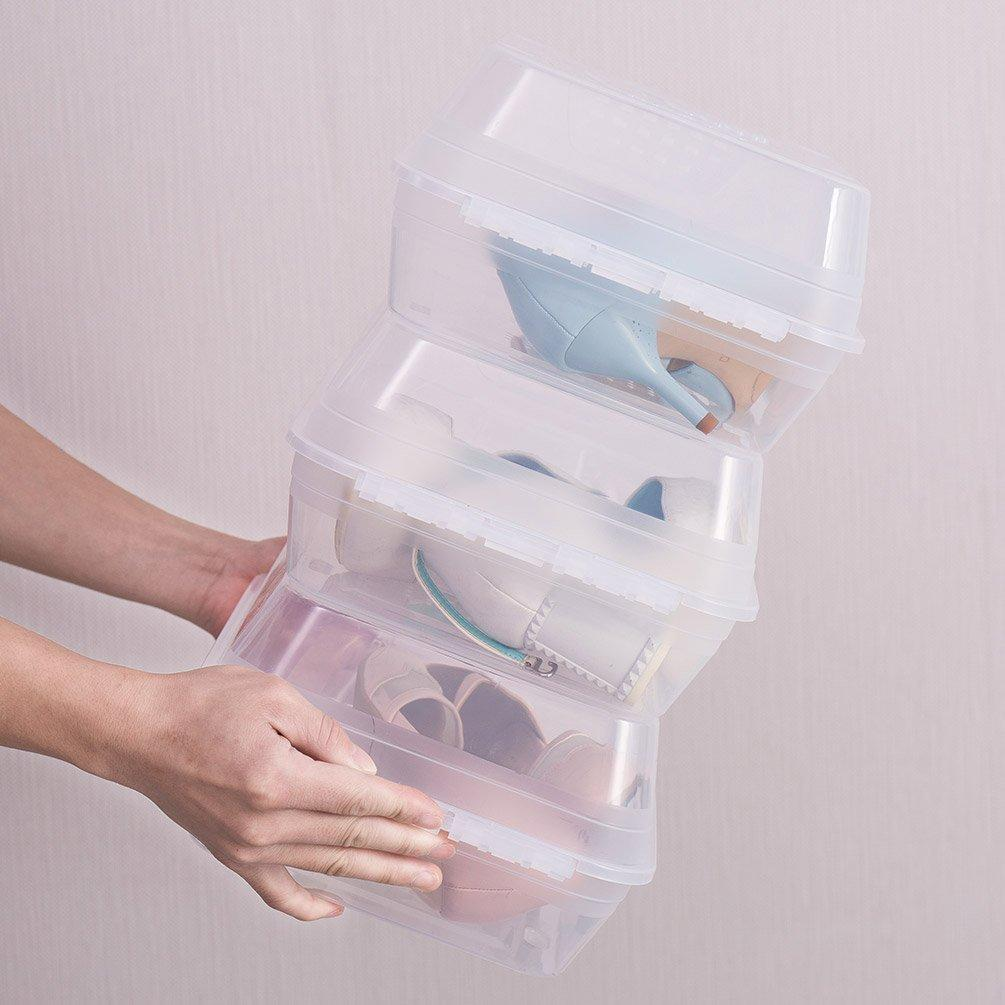 Shop for baoyouni clear shoe box closet corner storage case holder dust proof breathable organizer saving space stackable with lid for flats athletic shoes sandals heels sneakers pack of 5