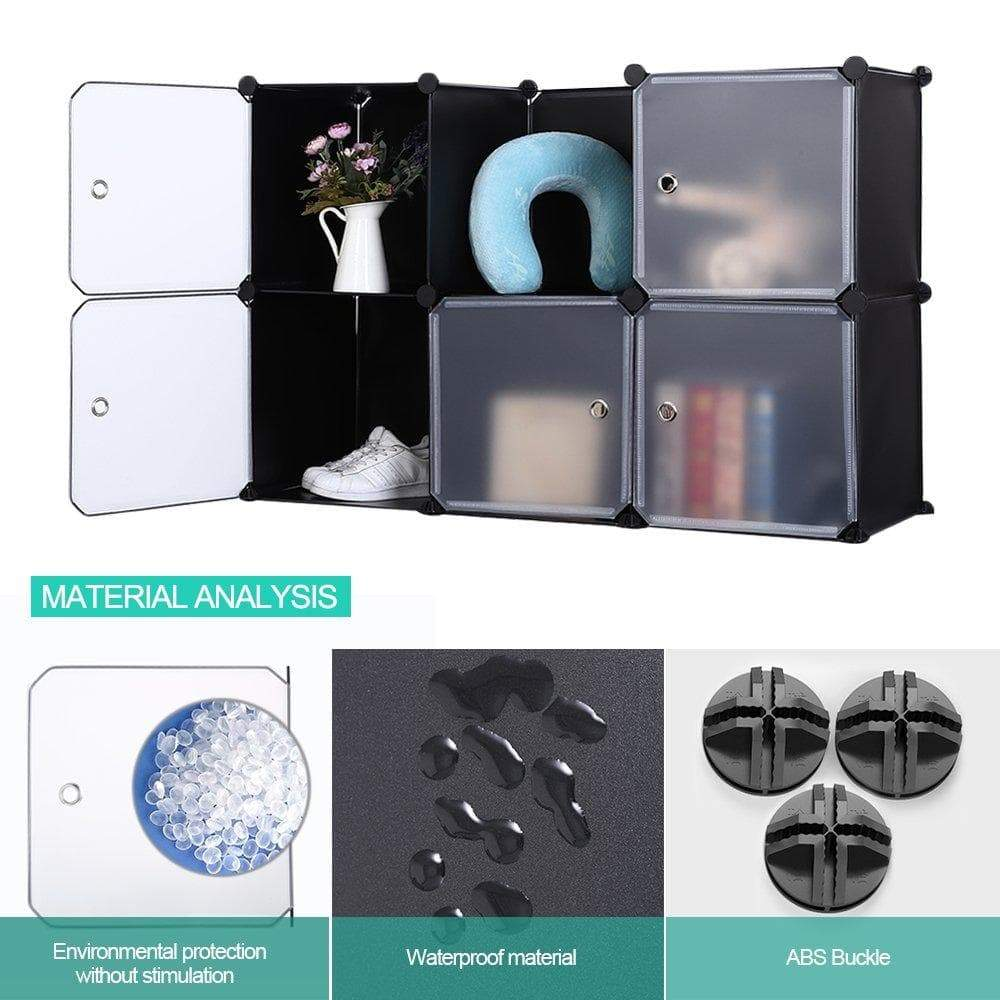 Home robolife 12 cubes organizer diy closet organizer shelving storage cabinet transparent door wardrobe for clothes shoes toys