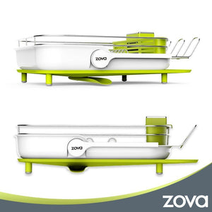 Selection mr siga zova premium stainless steel multi functional dish drying rack with cutlery holder and wine glass rack dish drainer utensil organizer for kitchen large white green
