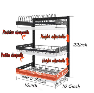 Budget friendly ctystallove 3 tier black stainless steel dish drying rack fruit vegetable storage basket with drainboard and hanging chopsticks cage knife holder wall mounted kitchen supplies shelf utensils organizer