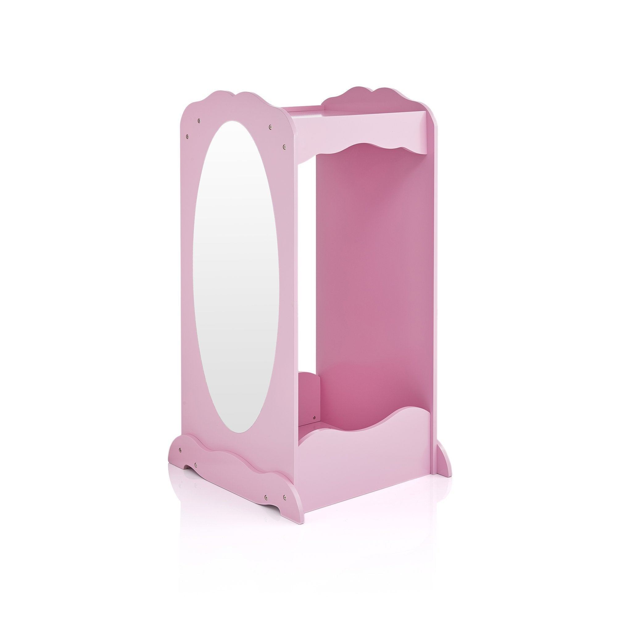 On amazon guidecraft dress up cubby center pink costumes accessoires storage shelf and rack with mirror for little girls and boys toddlers wooden wardrobe closet
