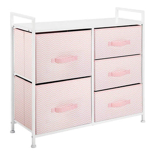 Best seller  mdesign wide dresser storage tower furniture metal frame wood top easy pull fabric bins organizer for kids bedroom hallway entryway closets dorm chevron print 5 drawers pink white
