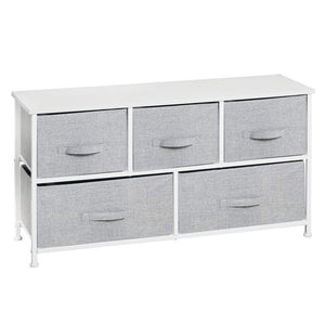 Budget friendly mdesign extra wide dresser storage tower sturdy steel frame wood top easy pull fabric bins organizer unit for bedroom hallway entryway closets textured print 5 drawers gray white