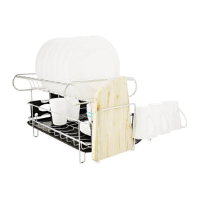 Storage organizer professional dish drying rack 2 tier 304 stainless steel dish rack with drainboard microfiber mat kitchen utensil holder