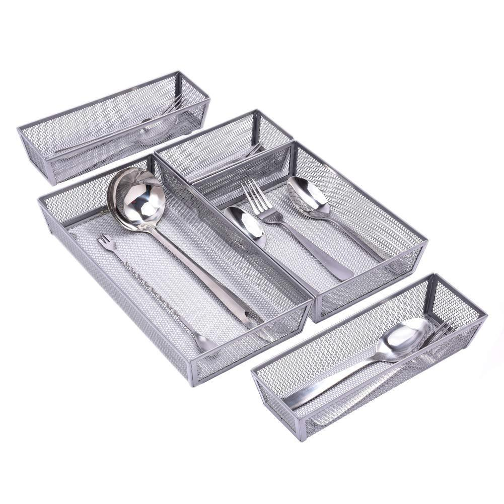 Results expandable kitchen drawer organizer 5 separate compartment with anti slip mats mesh kitchen cutlery trays silverware storage kitchen utensil flatware tray