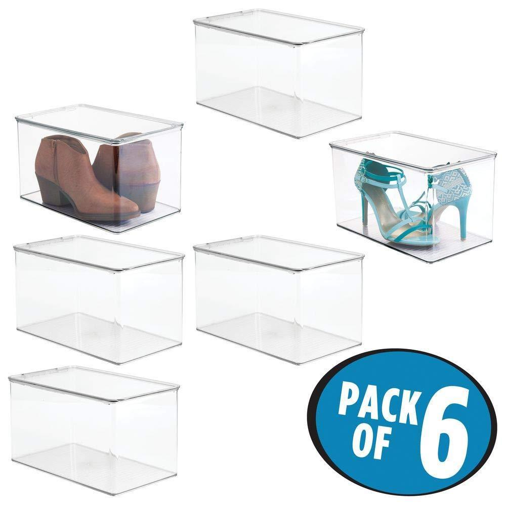 Top mdesign stackable closet plastic storage bin box with lid container for organizing mens and womens shoes booties pumps sandals wedges flats heels and accessories 7 high 6 pack clear